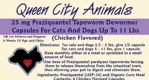 Queen City Animals Chicken Flavored Praziquantel Tapeworm Wormer Capsules For Little Dogs And Cats 2