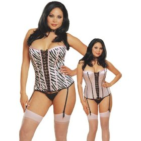 Plus size sexy reversible zebra/pink satin corset lingerie set with garters, thong and stockings