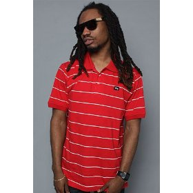Lrg core collection the cc striped polo in red,polos for men