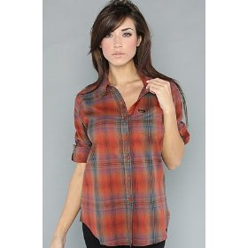 Rvca the creed buttondown shirt in red,tops (l/s) for women