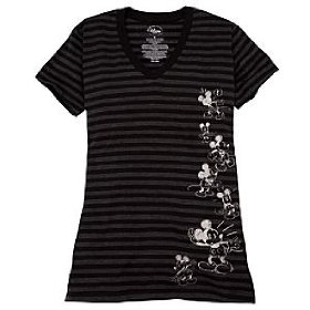 Disney organic striped vee-neck mickey mouse tee