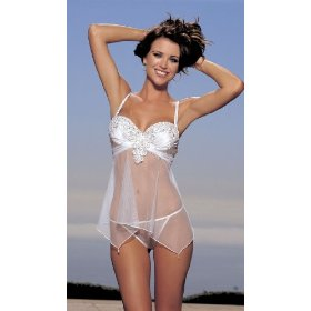 Soh-25130, embellished charmeuse and net baby doll with g-string