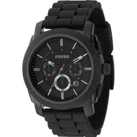 Fossil black dial silicone band watch - men's