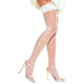 Sheer thigh high nylon stocking with woven wedding bells, ribbon pattern, rhinestones, and lace top