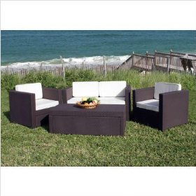 Bali synthetic wicker set color: dark brown