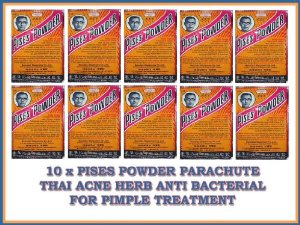 10 X Pises Powder Parachute Thai Acne Herb Anti Bacterial for Pimple Treatment Made in Thailand