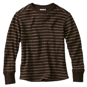 Boys' cherokee® brown striped long-sleeve thermal shirt