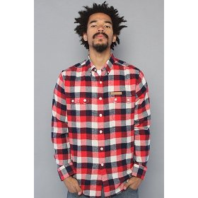 Crooks and castles the boxcheck flannel buttondown shirt in red,buttondown shirts for men