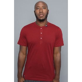Lrg core collection the cc henley in maroon,tops for men