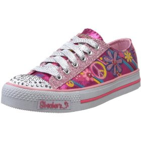 Skechers little kid shuffles-groovy baby lighted sneaker