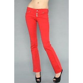 Tripp nyc the button fly jean in red,denim for women