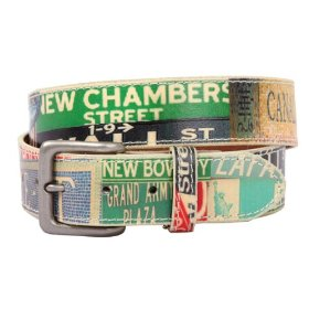 Snap on genuine vintage multi-color street names printed leather belt