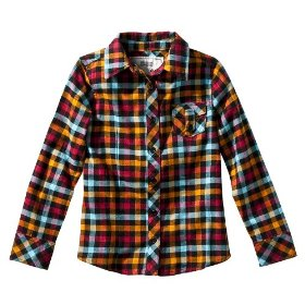 Girls' mossimo supply co. multicolor plaid long-sleeve woven shirt