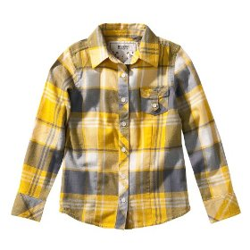 Girls' mossimo supply co. yellow gold plaid long-sleeve woven shirt