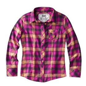 Girls' mossimo supply co. pink plaid long-sleeve woven shirt