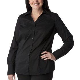 Women's plus-size merona® black v-neck long-sleeve fashion shirt