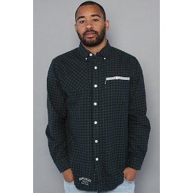Crooks and castles the gingham flannel buttondown shirt in hunter,buttondown shirts for men