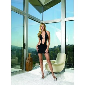 Slinky halter mini dress sexy lingerie - one size in black