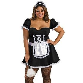 Sexy womens adult french maid costume outfit womens us plus (dress 14-16)