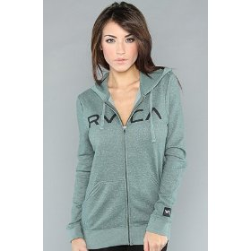 Rvca the big rvca iii zip hoody in green hood ,sweatshirts for women