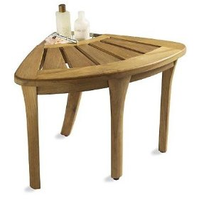 New grade a teak corner seat shower bench / stool with basket