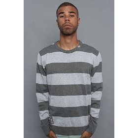 Lrg core collection the cc striped sweater in charcoal heather,sweaters for men