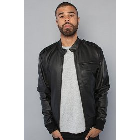 Nixon the fuzz leather jacket in black,jackets for men