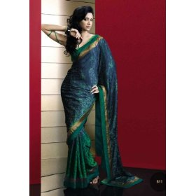 Aayushi printed georgette saree / sari fabric for casual wear