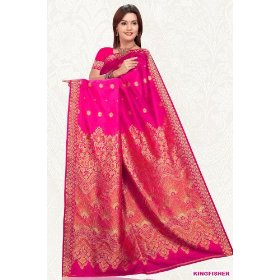 Hot pink art silk sari saree wrap
