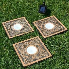 Solar powered stepping stone lights 3 pack for Solar powered glow stepping stones
