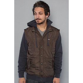 Rvca the puffer fleece sweatshirt in dark brown hood ,sweatshirts for men