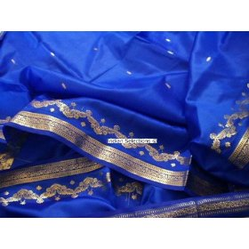 Blue sari / bellydance dress fabric wrap india saree