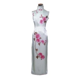 Snow white hand-painted pure silk dress