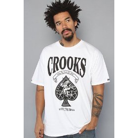Crooks and castles the burning the track tee in white,t-shirts for men