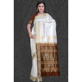 Cream formal fancy art silk indian sari / saree / wrap with detailed zari pallu