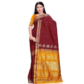Maroon art silk indian sari with designer pallu
