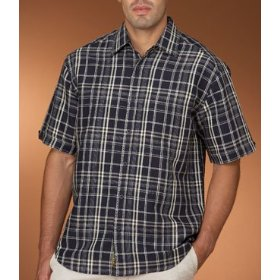 Cubavera linen plaid shirt with pickstitching