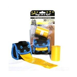 Doggie Walk Bags 2-Roll Designer Bags, Blue Paw/Yellow/Ocean