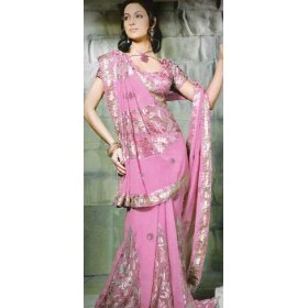 Indian designer pink faux georgette belly dance dress saree sari with unstitched blouse