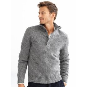 Banana republic luxe tweed button & zip mockneck sweater