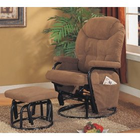 Microfiber saddle color swivel glider recliner with ottoman