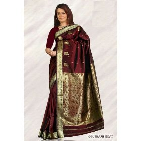 Deep maroon art silk sari (saree) dress from india