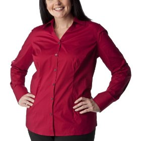 Women's plus-size merona® cayenne red v-neck long-sleeve fashion shirt