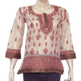 Kurtis clothes from india long sleeve top blouse chikan embroidery size s (ctop475)