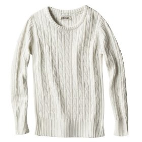 Girls' cherokee® cream long-sleeve cable knit sweater