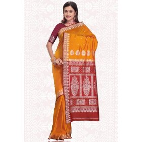 Mustard with maroon contrast pallu india sari / saree fabric