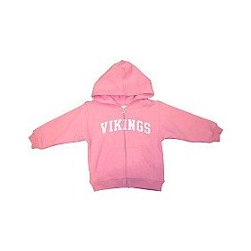 Reebok minnesota vikings girls (4-6x) full zip pink hooded sweatshirt