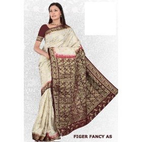 Cream bangalore south art chiffon festival saree / sari