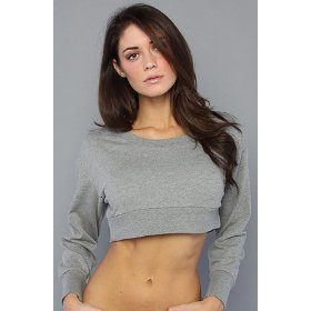Cheap monday the crop sweater in gray melange hood ,sweatshirts for women