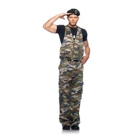 Mens adult 4pc. special ops officer, utility vest, pants, beret, and dog tags leg avenue costume hal